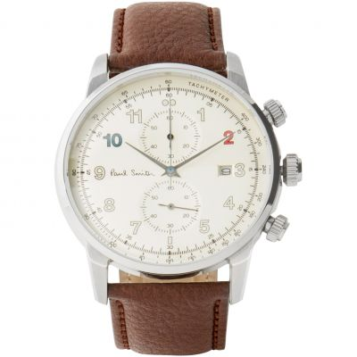Mens Paul Smith Block Leather Strap Chronograph Watch P10141