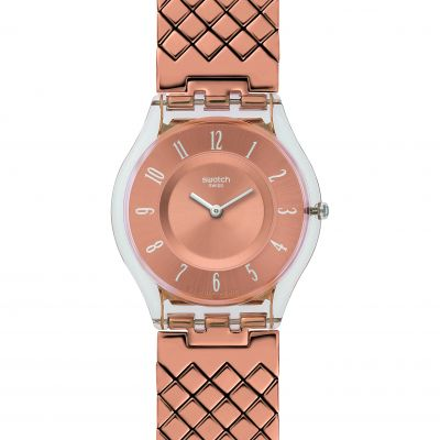Ladies Swatch Pink Cushion Watch SFE110GA