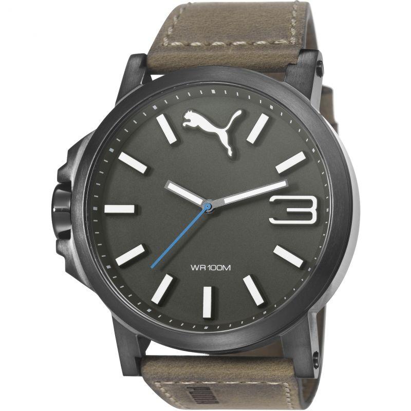 Mens Puma PU10346 ULTRASIZE 50 -gun brown leather Watch