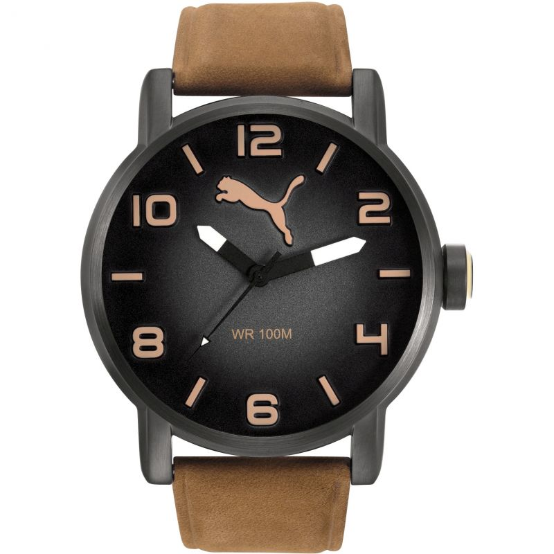 Mens Puma PU10414 ALTERNATIVE ROUND - leatherbrown Watch
