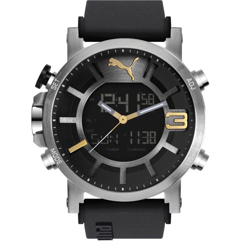 Mens Puma PU91137 ULTRASIZE ANA-DIGITAL - sil gold Alarm Chronograph Watch