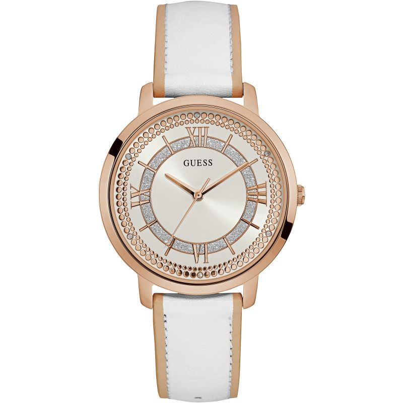 GUESS Ladies rose gold watch with white dial and white leather strap.