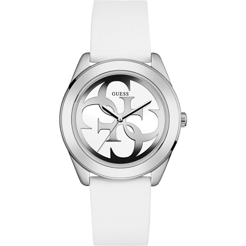 undefeated x good service first rate GUESS Ladies silver watch with white logo dial and white silicone strap.