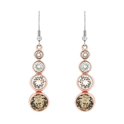 Karen Millen Dames Crystal Drop Earrings PVD verguld Rose KMJ047-24-161