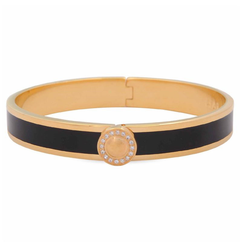 Image of 1cm Sparkle Button Plain Black & Gold Hinged Bangle