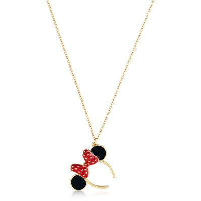 Ladies Disney Couture PVD Gold plated Minnie Mouse Red Enamel Headband Necklace DYN018