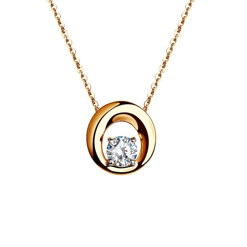 Ladies Sokolov 14 Carat Gold Lovely Cubic Zirconia Necklace 70252