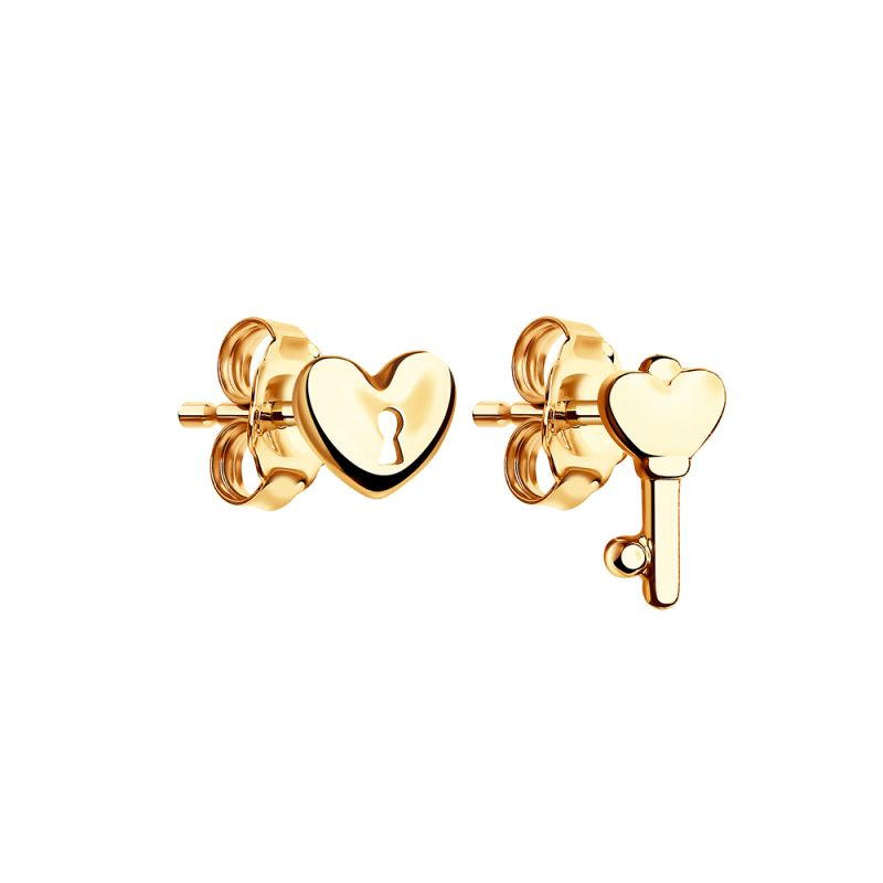 Ladies Sokolov 14 Carat Gold Talisman Heart Stud Earrings