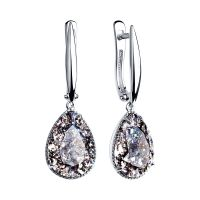 Ladies Sokolov Sterling Silver Vintage Crystal Earrings 94022222