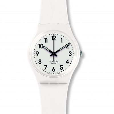 Swatch Original Gent Just White Soft Unisexuhr in Weiß GW151O