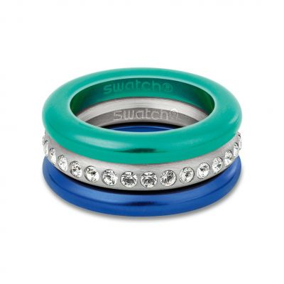 Ladies Swatch Bijoux Stainless Steel Merry Blue Ring Size L JRD053-6