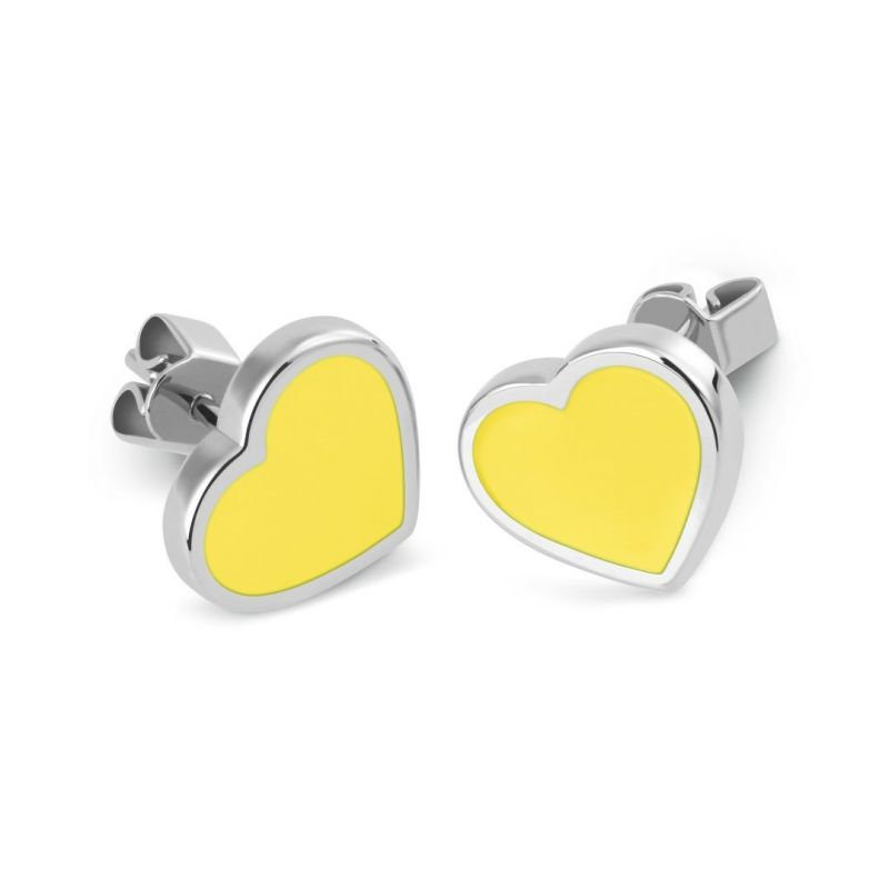 Ladies Swatch Bijoux Silver Plated Lovemedo Yellow Heart Stud Earrings JEJ013-U