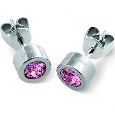 Ladies Swatch Bijoux Stainless Steel Puntoluce Rose Crystal Stud Earrings JEP018-U