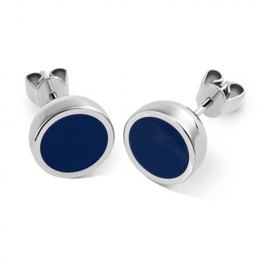 Ladies Swatch Bijoux Silver Plated Colortwist Blue Stud Earrings JES023-U