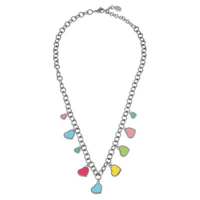 Ladies Swatch Bijoux Silver Plated Lovemedo Multicolour Heart Necklace JPD044-U