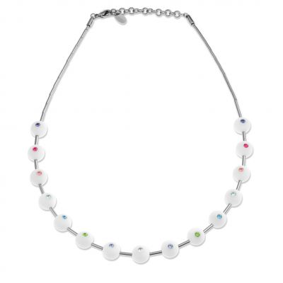 Ladies Swatch Bijoux Silver Plated Biancolori Multicolour Necklace JPW019-U