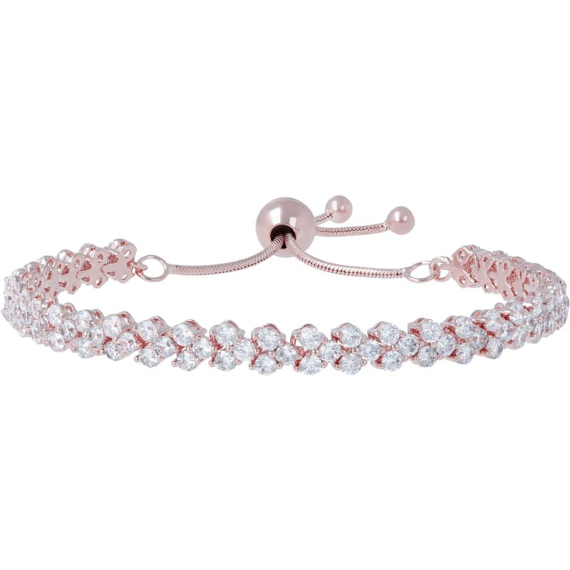Ladies Bronzallure 18ct Rose Gold Plated Bronze Altissima Adjustable Friendship Pave Tennis Bracelet WSBZ00740.WR