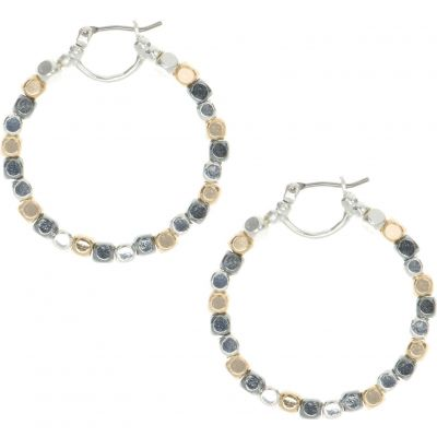 Ladies Nine West Two-tone steel/gold plate Beaded Hoop Earrings 60450301-Z01