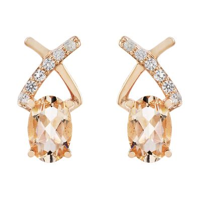 Ladies Gemstone Sterling Silver Morganite & White Zircon Crossover Stud Earrings OJS0015E-MO
