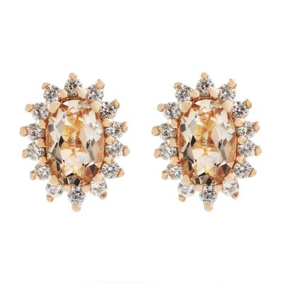 Damen Gemstone Morganite & White Zircon Cluster Stud Ohrringe Sterling-Silber OJE0060-MO