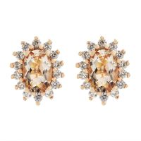 Ladies Gemstone Sterling Silver Morganite & White Zircon Cluster Stud Earrings OJE0060-MO