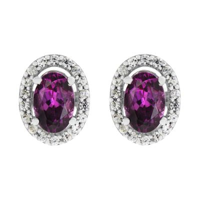 Damen Gemstone Purple Rhodolite & White Zircon Cluster Stud Ohrringe Sterling-Silber OJS0004E-PR