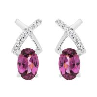Ladies Gemstone Sterling Silver Purple Rhodolite & White Zircon Crossover Stud Earrings OJS0015E-PR