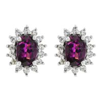 Ladies Gemstone Sterling Silver Purple Rhodolite & White Zircon Cluster Stud Earrings OJE0060-PR