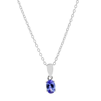 Ladies Gemstone Sterling Silver Oval Tanzanite Necklace OJS0006P-TZAA