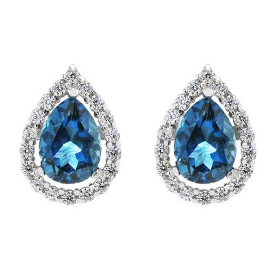 Damen Gemstone London Blue Topaz Cluster Stud Ohrringe Sterling-Silber G0119E-LBT
