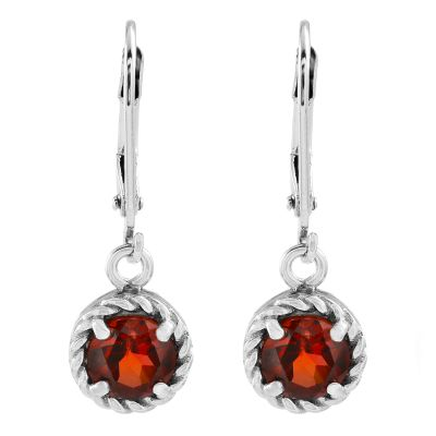 Ladies Gemstone Sterling Silver Garnet Earrings G0060E-GA