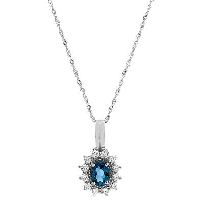 Ladies Gemstone Sterling Silver London Blue Topaz Cluster Pendant G0111P-LBT