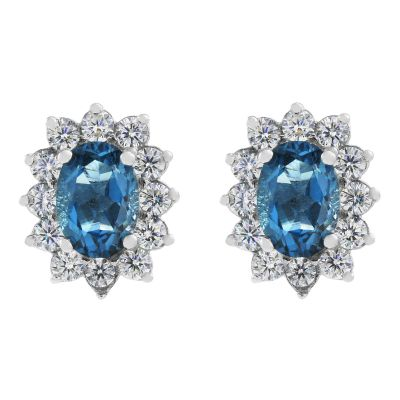 Ladies Gemstone Sterling Silver London Blue Topaz Cluster Stud Earrings G0111E-LBT