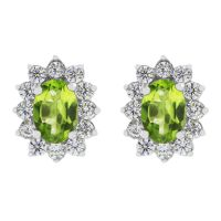 Ladies Gemstone Sterling Silver Peridot Cluster Stud Earrings G0111E-PE