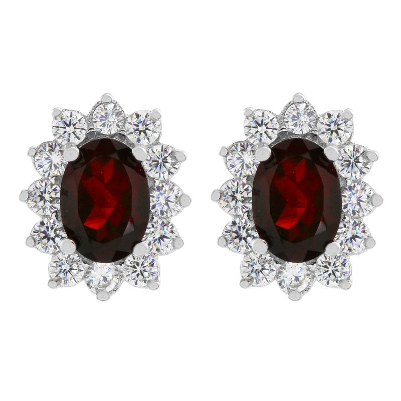 Ladies Gemstone Sterling Silver Garnet Cluster Stud Earrings G0111E-GA