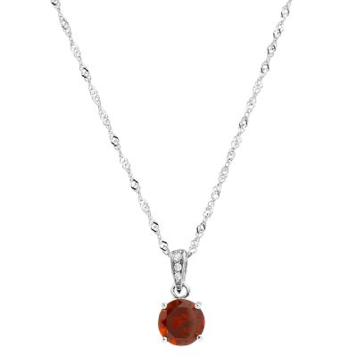 Ladies Gemstone Sterling Silver Garnet Pendant G0091P-GA
