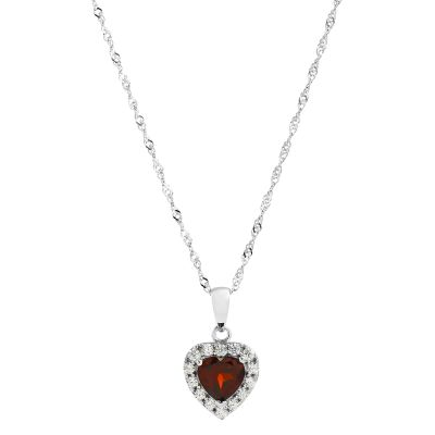 Ladies Gemstone Sterling Silver Garnet Heart Cluster Pendant G0046P-GA