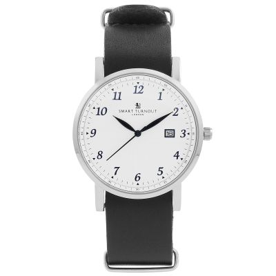 Smart Turnout Savant with Navy Leather Strap Unisexuhr in Schwarz STH5/SW/56/W-NAV