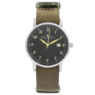 Smart Turnout Savant with Grey Leather Strap Unisexuhr in Khakifarben STH5/SB/56/W-GRE