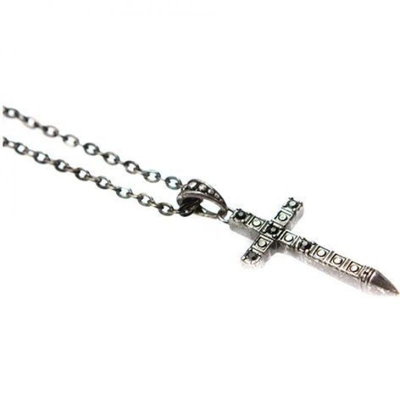 Mens Icon Brand Silver Plated Rebel Heritage Onyx Cross Necklace RH004-N-BLK