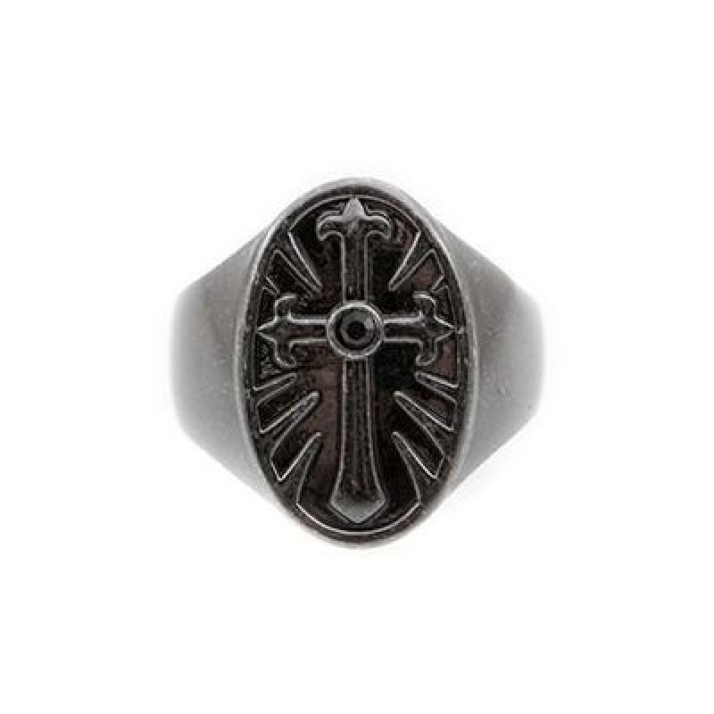 Mens Icon Brand Black Ion-plated Steel Rebel Heritage Onyx Cross Ring Size Large RH015-R-BLK-LGE