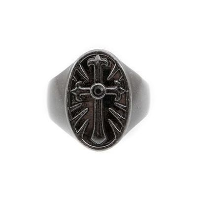 Joyería para Hombre Icon Brand Jewellery Rebel Heritage Onyx Cross Ring Size Large RH015-R-BLK-LGE