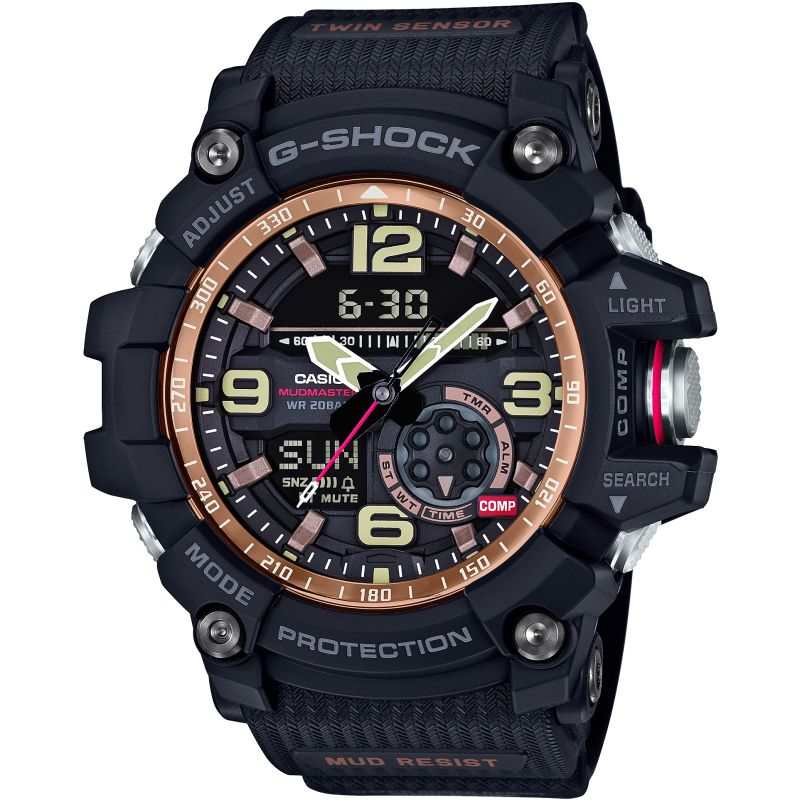Mens Casio G-Shock Mudmaster Master Of G Vintage Black And Alarm Chronograph Watch GG-1000RG-1AER