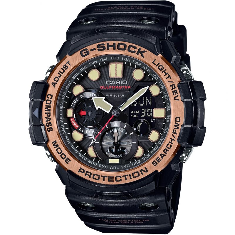 Mens Casio G-Shock Gulfmaster Master Of G Vintage Black And Alarm Chronograph Watch