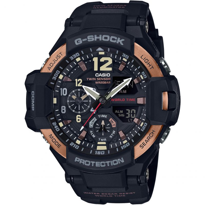 Mens Casio G-Shock Aviator Master Of G Vintage Black And Alarm Chronograph Watch