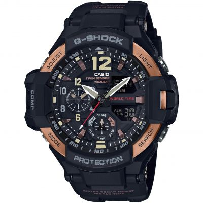 Mens Casio G-Shock Aviator Master Of G Vintage Black And Alarm Chronograph Watch GA-1100RG-1AER