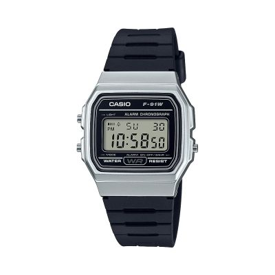 Casio Classic Collection Unisexchronograph in Schwarz F-91WM-7AEF