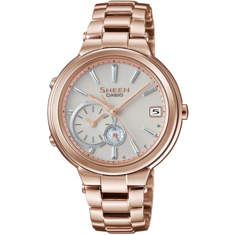 Ladies Casio Sheen Time Ring Bluetooth Hybrid Smartwatch Alarm Watch