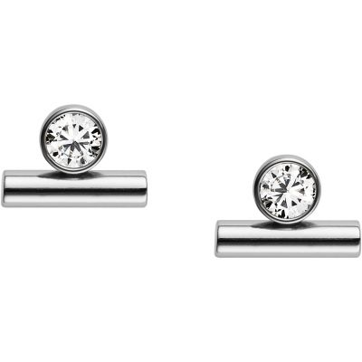 Ladies Fossil Silver Plated Glitz Earrings JF02582040