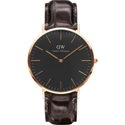 Daniel Wellington Classic Black York Watch 40mm Unisexuhr in Braun DW00100128